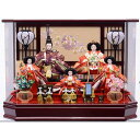 【雛人形】ベビーザらス限定 ケース五人飾り「雪輪桜刺繍六角ワイン塗アクリル」【送料無料】