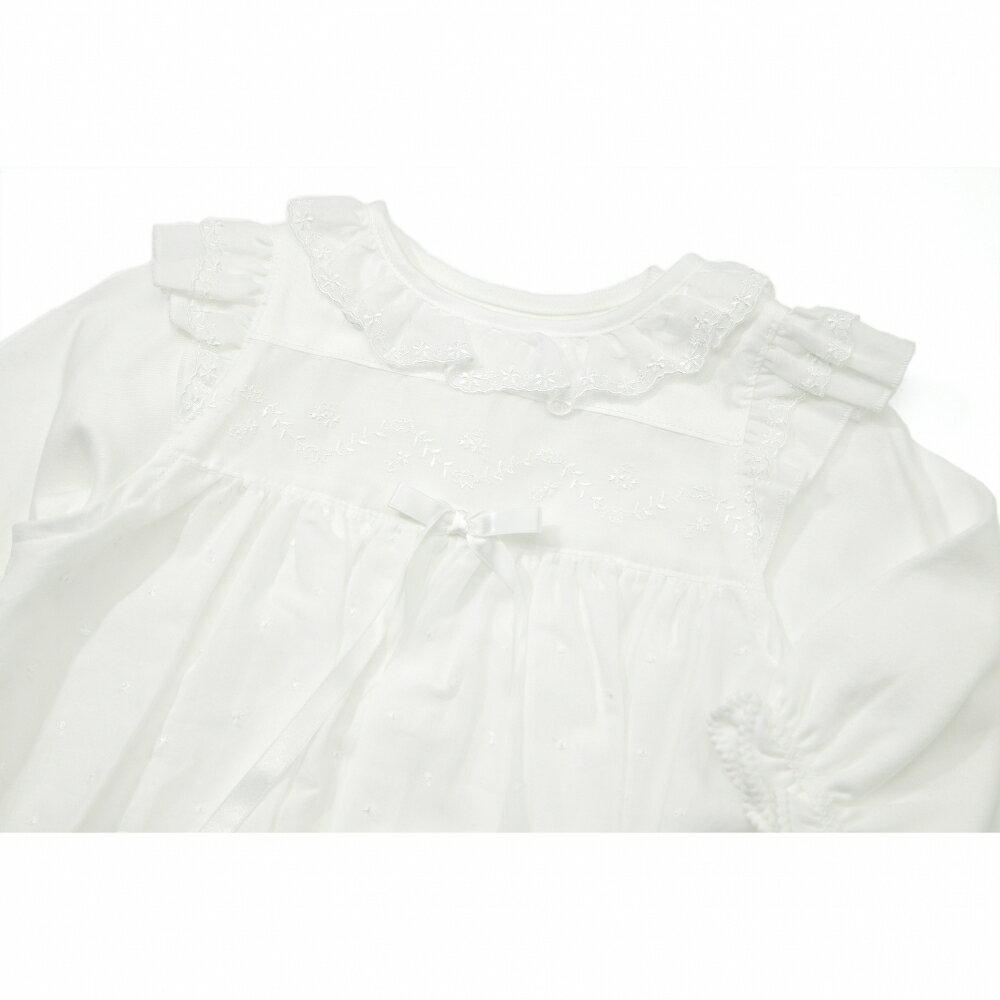 【愛情設計】外出用ドレス☆低刺激素材(オフホワイト・50~70cm)オールシーズン用★日本製★