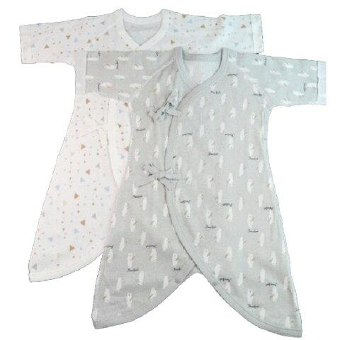 ベビーザらス限定 2P新生児コンビ肌着 フライス(クマ・三角×グレー/50-70cm)