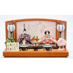 【雛人形】親王飾り「流水桜刺繍けやき塗」【送料無料】