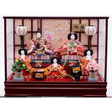 【雛人形】ベビーザらス限定 ケース五人飾り「金彩桜刺繍エンジ塗」【送料無料】