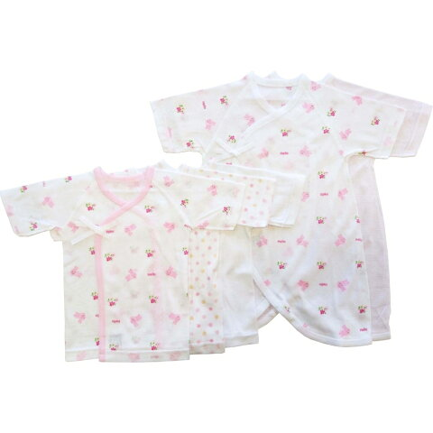 ベビーザらス限定 日本製 5枚入り フライス新生児肌着セット(短肌着・コンビ肌着) ウサギ(ピンク×50-60cm)