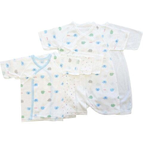 ベビーザらス限定 日本製 5枚入り フライス新生児肌着セット(短肌着・コンビ肌着) ゾウ(ブルー×50-60cm)