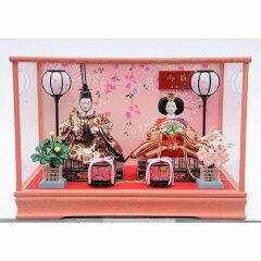 【雛人形】ケース親王飾り「流れしだれ桜ピンク塗」【送料無料】