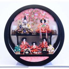 【雛人形】ケース五人飾り「金彩枝桜丸形黒塗アクリル」【送料無料】
