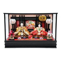 【雛人形】ケース親王飾り「花見頃刺繍格子」【送料無料】
