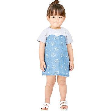 ベビーザらス限定 SNOOPY×WRANGLER 天竺×デニム 半袖ワンピース (ブルー×80cm)