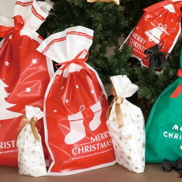 【ラッピング袋】【クリスマス】プチキュートリボン付ギフトバッグ(Mサイズ)【デコレーション クリスマス柄 靴下 赤 白 星 MERRY CHRISTMAS リボン 袋 プレゼント 用品 巾着 タイプ マチあり ラッピング 子供会 幼稚園 クリスマス会 かわいい ギフト 贈り物】