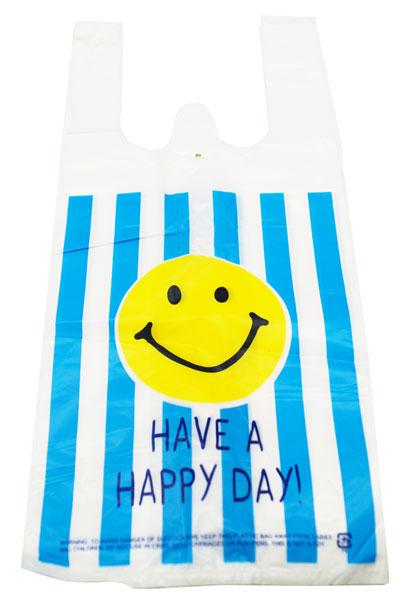 【ビニール袋】【メール便可】ビニール袋 VINYL BAG MINI SMILE BLUE STRIPE 100枚セット(絵柄片面のみ)【おもちゃ グッズ 袋 レジ袋 ビニールバッグ 手提げ かわいい おしゃれ まとめ買い 笑顔 スマイル セット 販促品 イベント 縁日 お祭り 男の子 女の子】