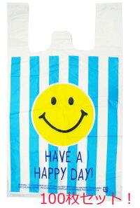 ビニール袋VINYLBAGMSMILEBLUESTRIPE100枚セット(絵柄片面のみ)【袋レジ袋ビニールバッグまとめ買い笑顔】