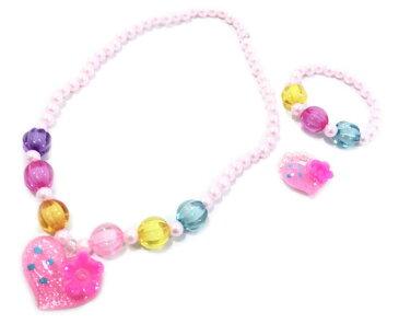 New3点デコラアクセサリー 12個セット【 おもちゃ ネックレス ペンダント 指輪 女の子 ピンク色 リング ブレスレット 】