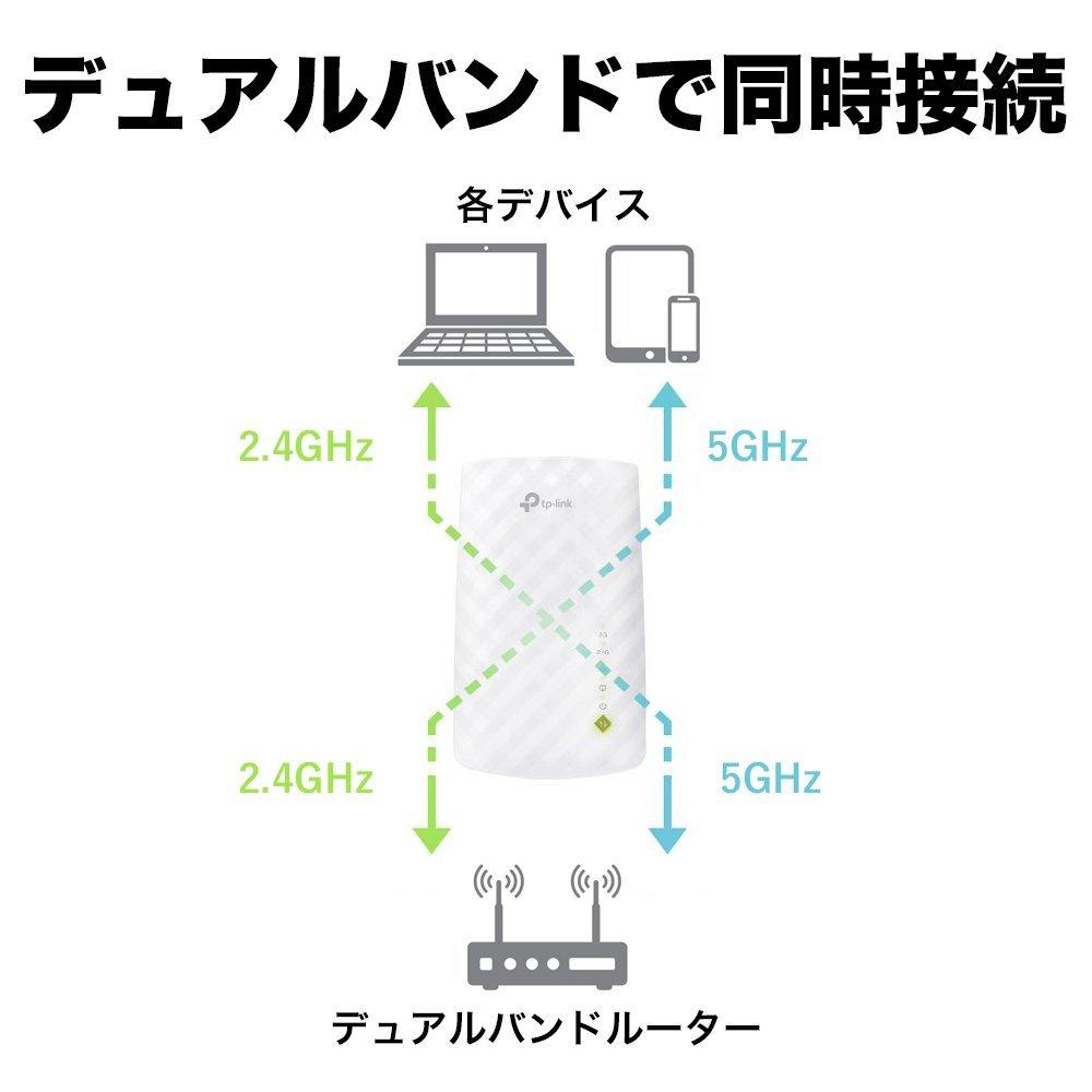【楽天1位!2018年間ランキング大賞商品】433Mbps+300Mbps無線LAN中継器 TP-Link RE200 11ac/n/g対応 3年保証 コンセント直挿しWi-Fi中継器 無線中継器