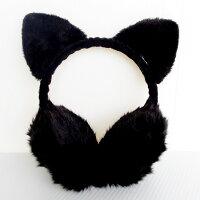 ネコ耳耳あてふわふわレディースイヤーウォーマーイヤーマフ防寒あったかかわいいフワモコ