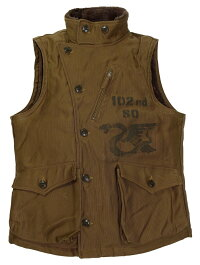 "FREEWHEELERS & CO. [""NEW YORK NATIONAL GUARD"" WINTER AVIATORS' VEST"" #1831011 SEPIA BROWN size.36,38,40,42,44]"
