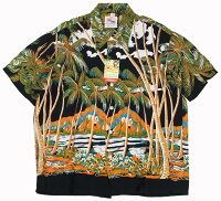 "DUKE KAHANAMOKU [-S/S RAYON ALOHA SHIRT- ""COCONUTS PALMS & DIAMOND HEAD"" BLACK size.XS,S,M,L,XL]"