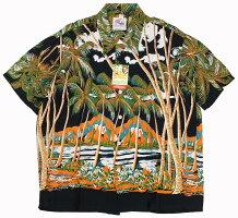 """DUKE KAHANAMOKU [-S/S RAYON ALOHA SHIRT- """"COCONUTS PALMS & DIAMOND HEAD"""" BLACK size.XS,S,M,L,XL]"""