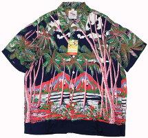 "DUKE KAHANAMOKU [-S/S RAYON ALOHA SHIRT- ""COCONUTS PALMS & DIAMOND HEAD"" NAVY size.XS,S,M,L,XL]"