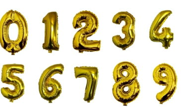 数字 バルーン ナンバー ストロースティック付き お誕生日会 特大 40cm ゴールド 123456789 シルバー 赤 パーティー 飾り お祝い (誕生日、パーティー)