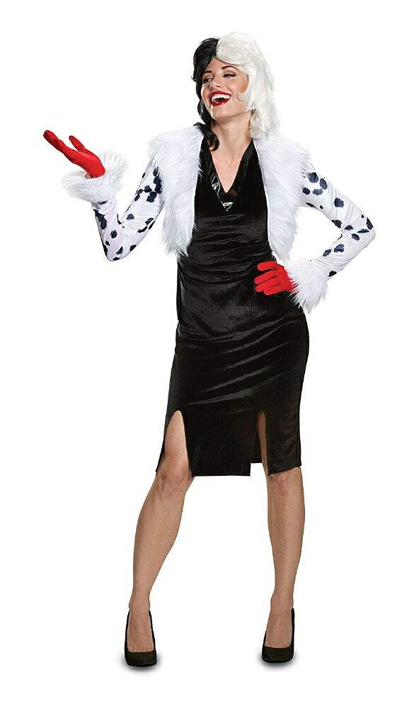 101匹わんちゃん クルエラ・デ・ビル デラックス レディース コスチューム 大人用 3点セットディズニー コスプレ衣装 かわいい (二次会、結婚式、仮装、パーティー、宴会、ハロウィン) 大人女性画像