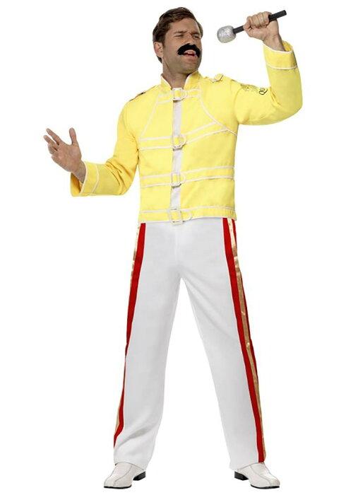 フレディ・マーキュリー メンズコスチューム 2点セット 男性用 コスプレ衣装 (二次会、仮装、パーティー、ハロウィン)大人男性用