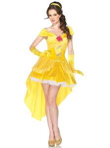 ディズニープリンセス 美女と野獣 ベル 4ピースセット ディズニーコスチューム コスプレ衣装 (二次会、結婚式、仮装、パーティー、宴会、ハロウィン) 女性 大人用【着後レビューで送料無料】
