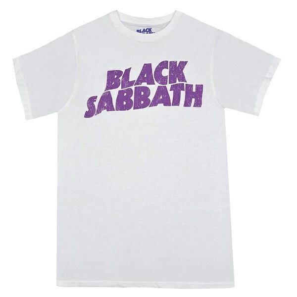 トップス, Tシャツ・カットソー BLACK SABBATH Wavy Logo Vintage T WHITE