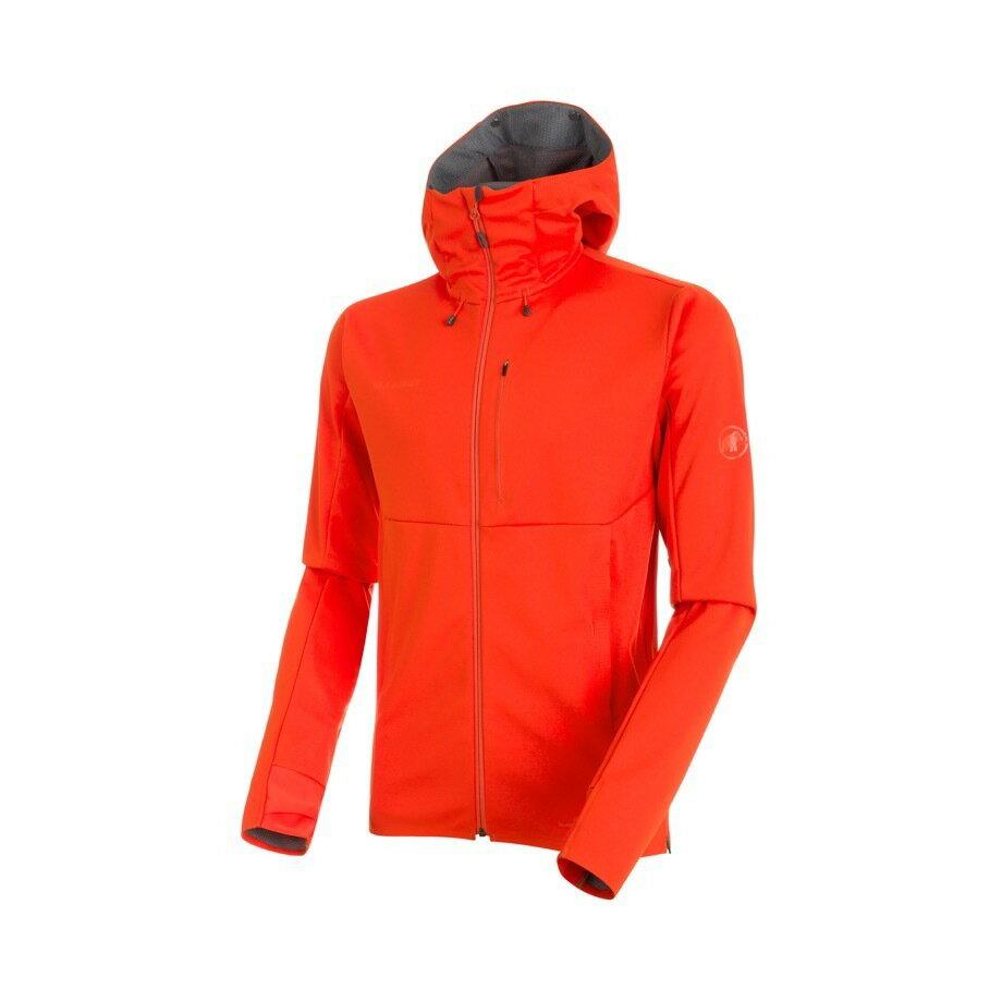 MAMMUT マムート Ultimate V SO Hooded Jacket AF Men アルティメート フーテッド ジャケット メンズ 1011-00350■アウトドア 登山 ソフトシェル GORE  防風 黒 赤 フェス 上着