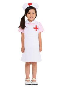 ◆【キッズジョブ看護婦さん120】◆ピンクのブラウスに白いワンピース、女の子らしさ満載の看護婦さんです。ナースキャップには可愛いハートマーク付き!胸の十字もポイントです。※メール便発送不可【キッズ用/子供用コスプレ】