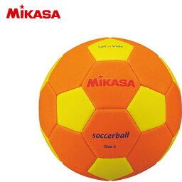 【MIKASA】ミカサ STPEF4OY スマイルサッカー4号 マシーン縫い STPEF4-OY[オレンジ/イエロー][スマイルサッカー/スポンジ/軽量/公園/室内/幼児/小学校低学年/キッズ]【RCP】