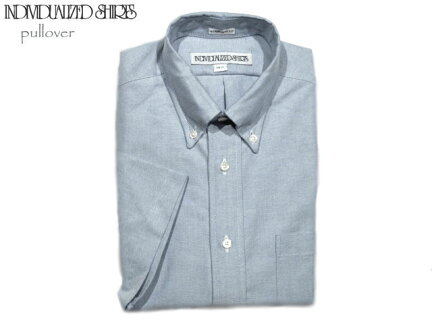 Individualized Shirts Standard Fit Middle Band Regatta Oxford Popover Short Sleeve Buttondown Shirt: Blue