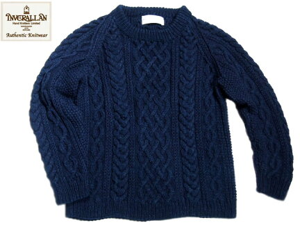Inverallan 1H Cotton Crewneck Aran Sweater: Indigo
