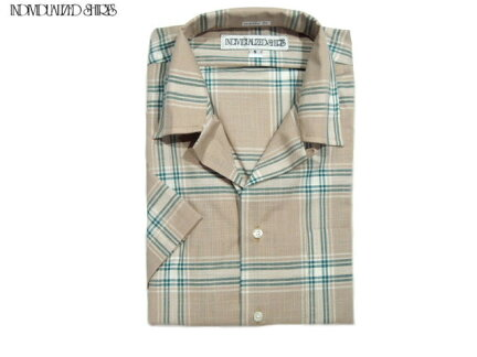 Individualized Shirts Short Sleeve Athletic Fit Check Camp Collar Shirt: Beige