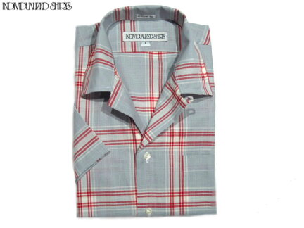 Individualized Shirts Short Sleeve Athletic Fit Check Camp Collar Shirt: Grey