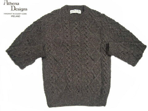 Athena Designs Crewneck Aran Sweater 2S: Dark Grey