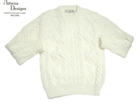 Athena Designs Crewneck Aran Sweater 2S: White