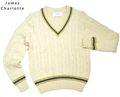 James Charlotte Cricket Cable Vee Pullover Sweater