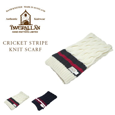 Inverallan Cricket Stripe Knit Scarf: Ecru, Navy