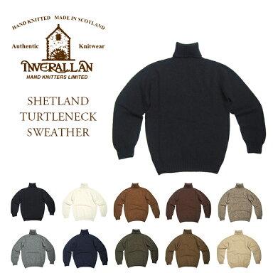 Inverallan Shetland Wool Turtleneck Sweater: Turtleneck