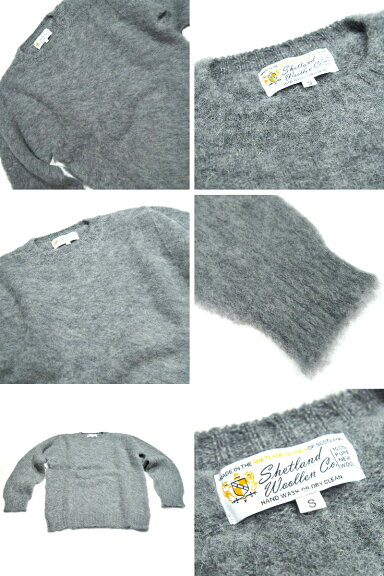 Shetland Woollen Co. Crewneck Shaggy Dog Sweater: Medium Grey