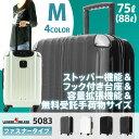 スーツケース キャリーケース キャリーバッグ 旅行用品 ストッパー付 中型 5083-66 M サイズ 容量拡張機能 無料受託手荷物サイズ 新作 ファスナータイプ 旅行鞄 TSAロック 軽量 7日 8日 9日