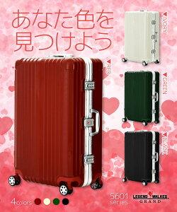スーツケース、M、サイズ、ダブルキャスター、超軽量、ワイドフレーム、フック付台座、ポリカーボネート、ボディ、キャリーケース、キャリーバッグ、旅行用かばん、新作、5601-64、レジェンドウォーカー