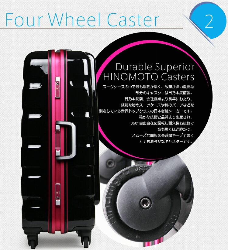 スーツケース キャリーケース キャリーバッグ 1年保証 ハードキャリー 旅行用品 4日 5日 6日 7日 8日 M サイズ 超軽量 中型 TSAロック 鏡面 ハードケース フレーム カラーフレーム 日乃本キャスター W-6016-60
