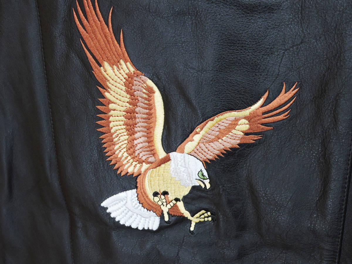 【未使用品】SUPREME/シュプリーム18SS Eagle Leather Vest Lイーグル 刺繍 レザー ベストブラック