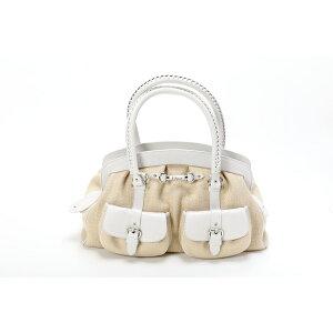 克里斯汀·迪奥Christian Dior 2口袋包手提包迷你波士顿包白色/米色未使用展览品[宝藏] [二手]