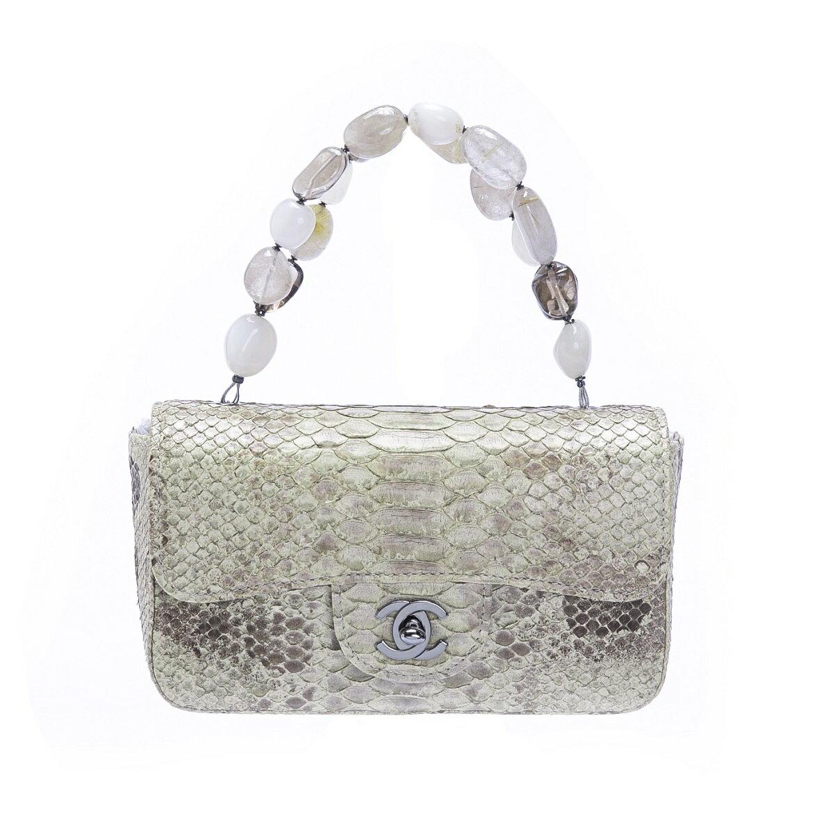 CHANEL Chanel Python Handbag Mini Bag Yellow Beige Stone ☆ Rare ☆ Free Shipping [Treasure Spot] [Used]