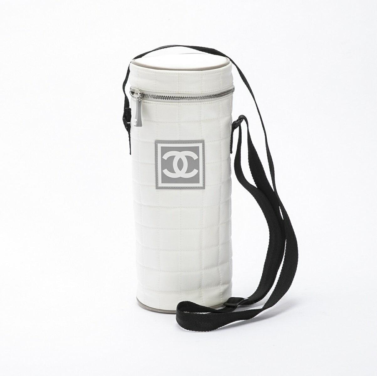 CHANEL シャネル スポーツライン ショルダーバッグ ホワイト×ブラック ナイロン 筒型 【トレジャースポット】【中古】:Treasure Spot
