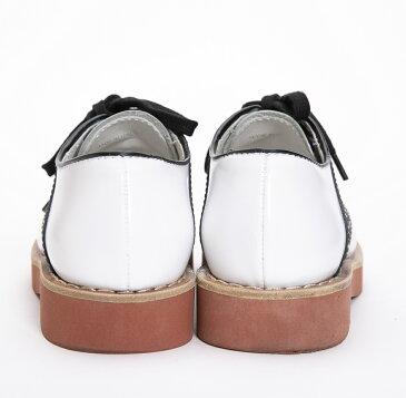 ミュウミュウ MIUMIU 靴 ホワイト×ブラック #35.5 レザー 【トレジャースポット】【中古】