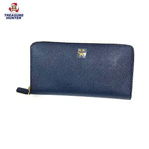 [使用] MCM皮革圆形拉链钱包MYL5SED01VY001蓝色蓝色女士钱包MCM [072720]