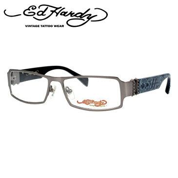【訳あり】エドハーディー メガネフレーム おしゃれ老眼鏡 PC眼鏡 スマホめがね 伊達メガネ リーディンググラス 眼精疲労 EdHardy 眼鏡 EHOA008 2 M・GUN マットガンメタル メンズ レディース ダテメガネ 紫外線対策