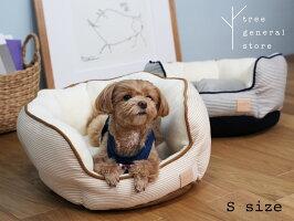 【クリックポスト対応】ベッド小型犬子犬ペットグッズヒッコリーネイビーベージュモコモコ丸型おしゃれかわいいトランクツリー